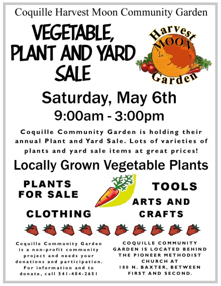 Flyer for Coquille Plant and Yard Sale 5-17