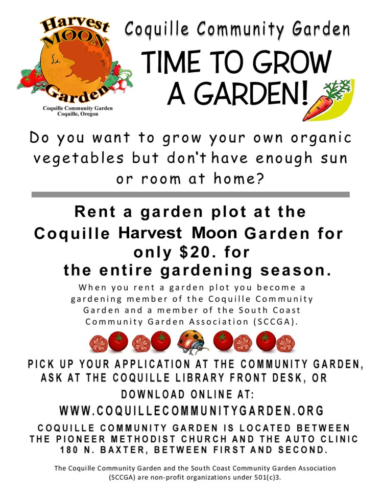 Flyer for Coquille Garden Rental Bed 2020